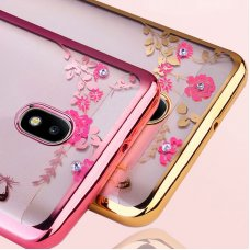 Diamond flowers Tpu Huawei P smart - Розово злато  (R61/B7)