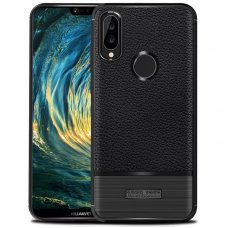 TPU Rugged Armor view leather Huawei P20 Lite - Черен